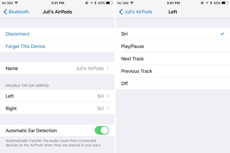 Ajustes de AirPods en iOS™ 11
