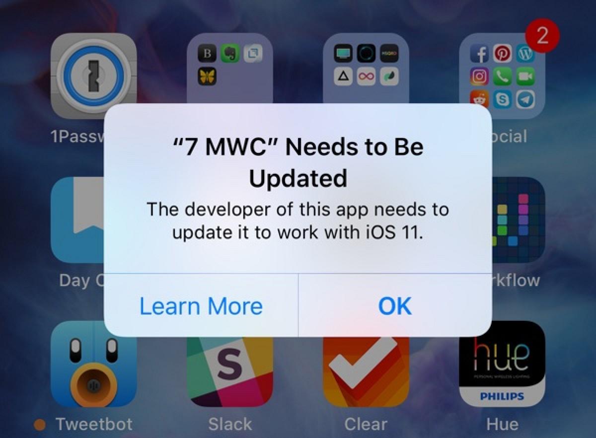 Aplicación que necesita ser actualizada para desempeñar en iOS™ 11