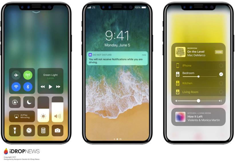 Concepto de boceto de iPhone ocho con iOS™ 11