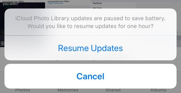 Pausar subidas a iCloud Photos Library