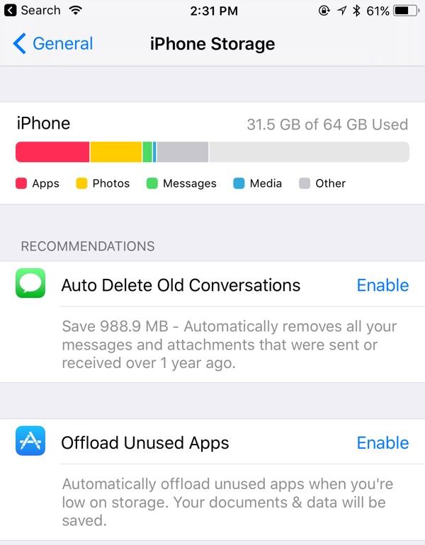 Ajustes de almacenamiento en iOS™ 11