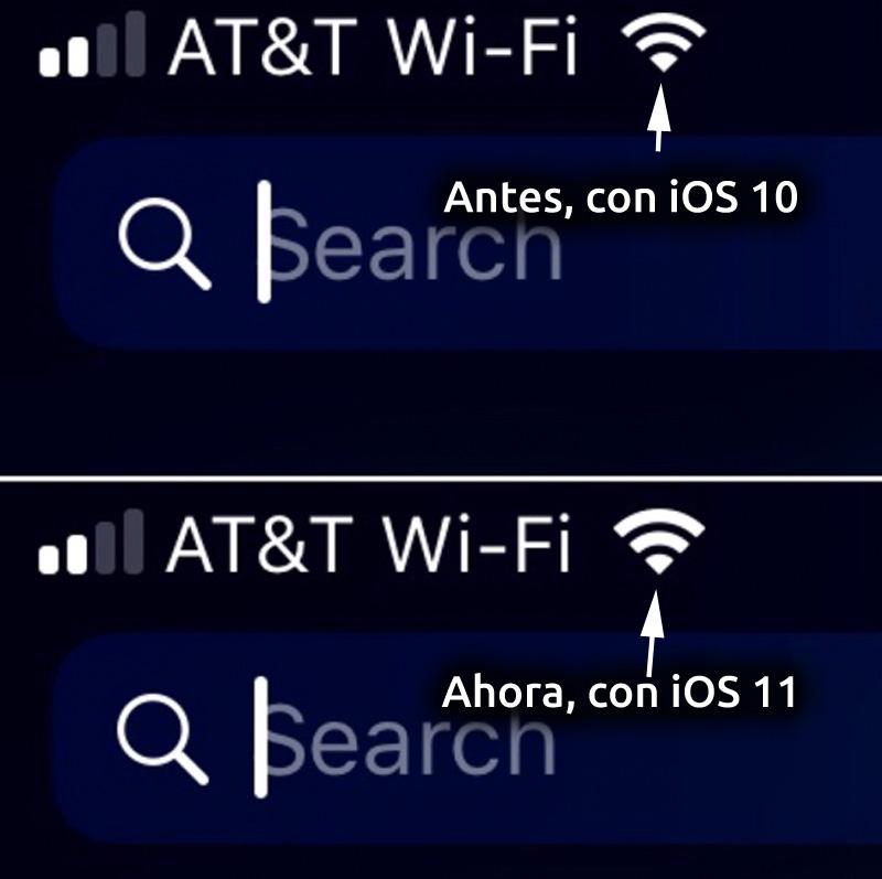 Icono de Wi-Fi en iOS™ diez e iOS™ 11