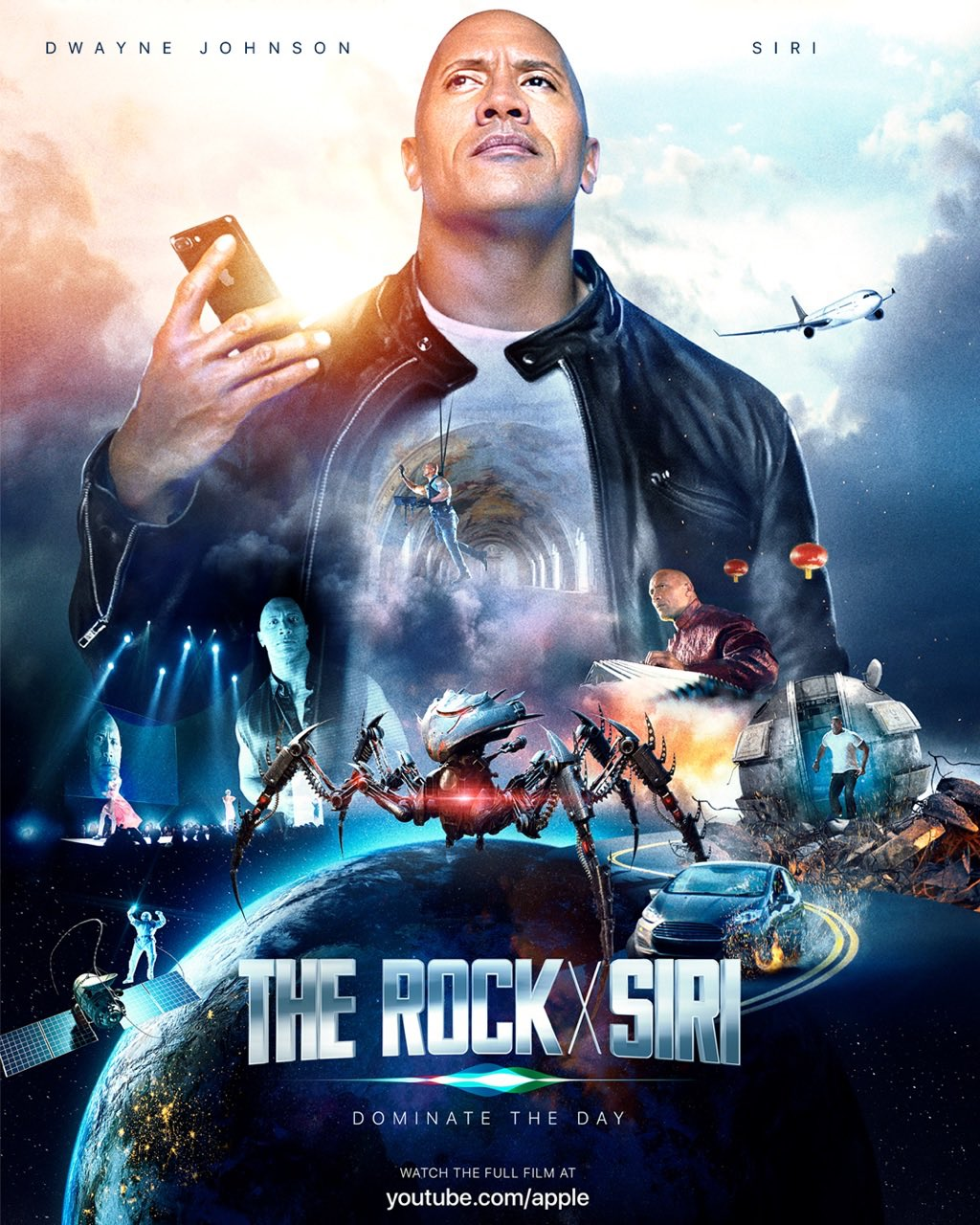 Cartel de la movie de The Rock y Siri