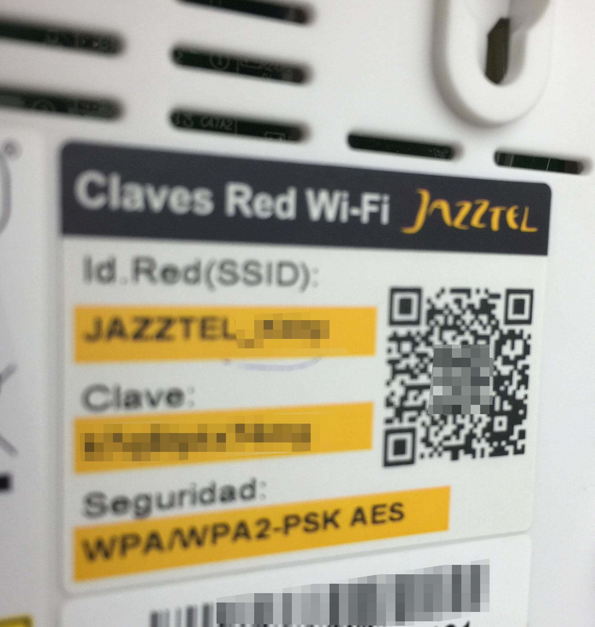 Claves Wi-Fi en un router, adquirible con un código QR