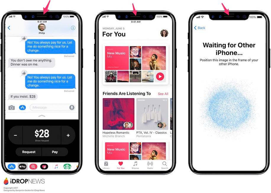 Entrante para el auricular en un concepto de diseño de iPhone 8