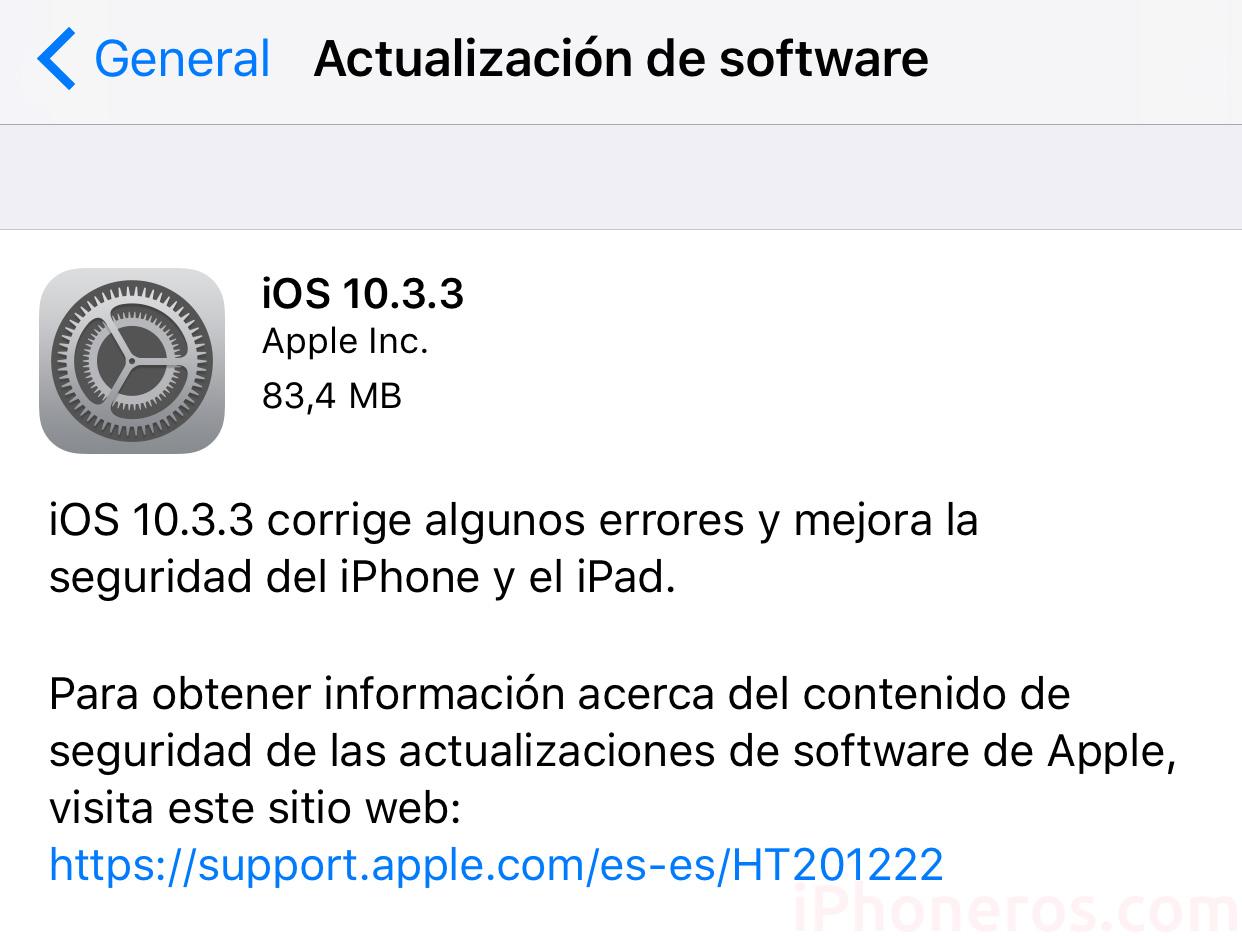 Actualización a iOS 10.3.3