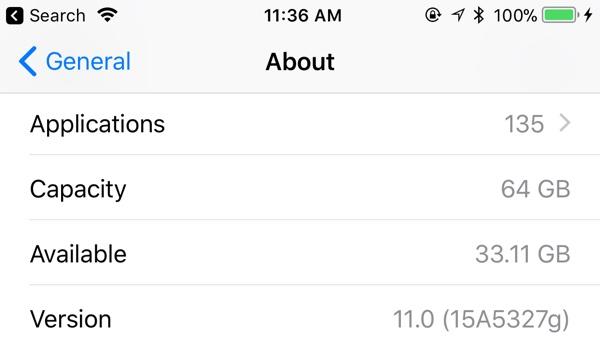 Capacidad de almacenamiento total en la App de Ajustes de iOS™ 11