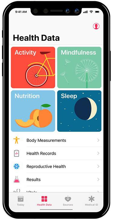 Concepto de boceto de la App de Salud en iOS™ 11