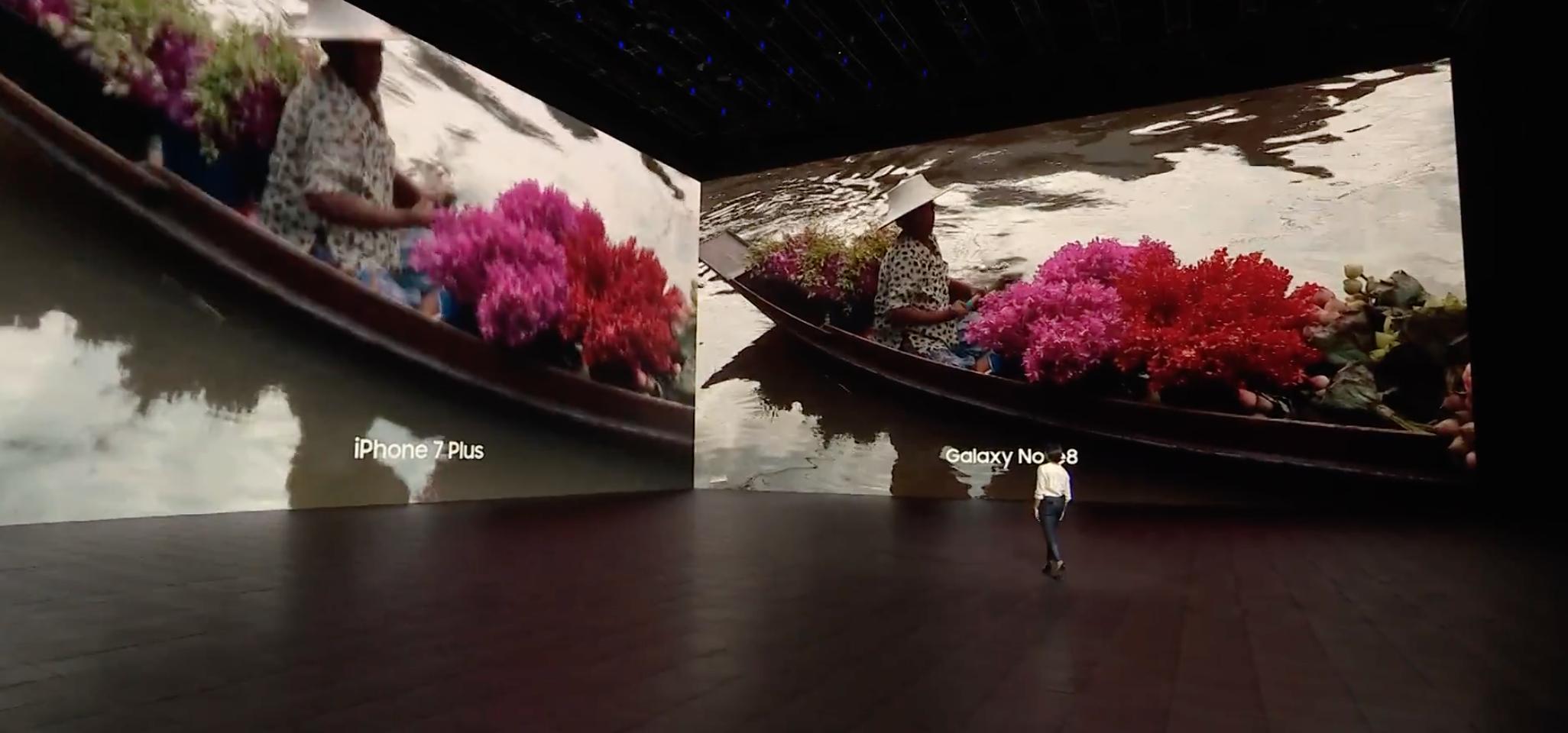 Samsung comparando el iPhone siete Plus con su reciente Galaxy™ Note 8
