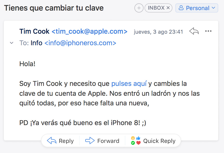 Email engañoso de Tim Cook
