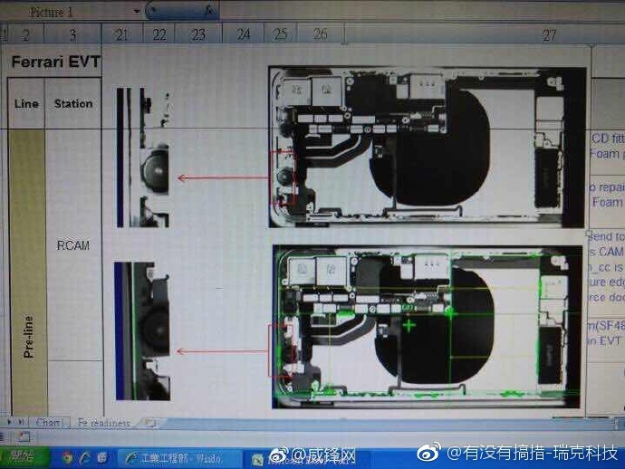 Supuesta factoría de Foxconn con esquemas del iPhone ocho en una pantalla