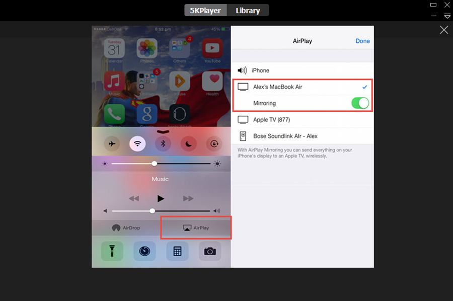 Configurando AirPlay en un iPhone