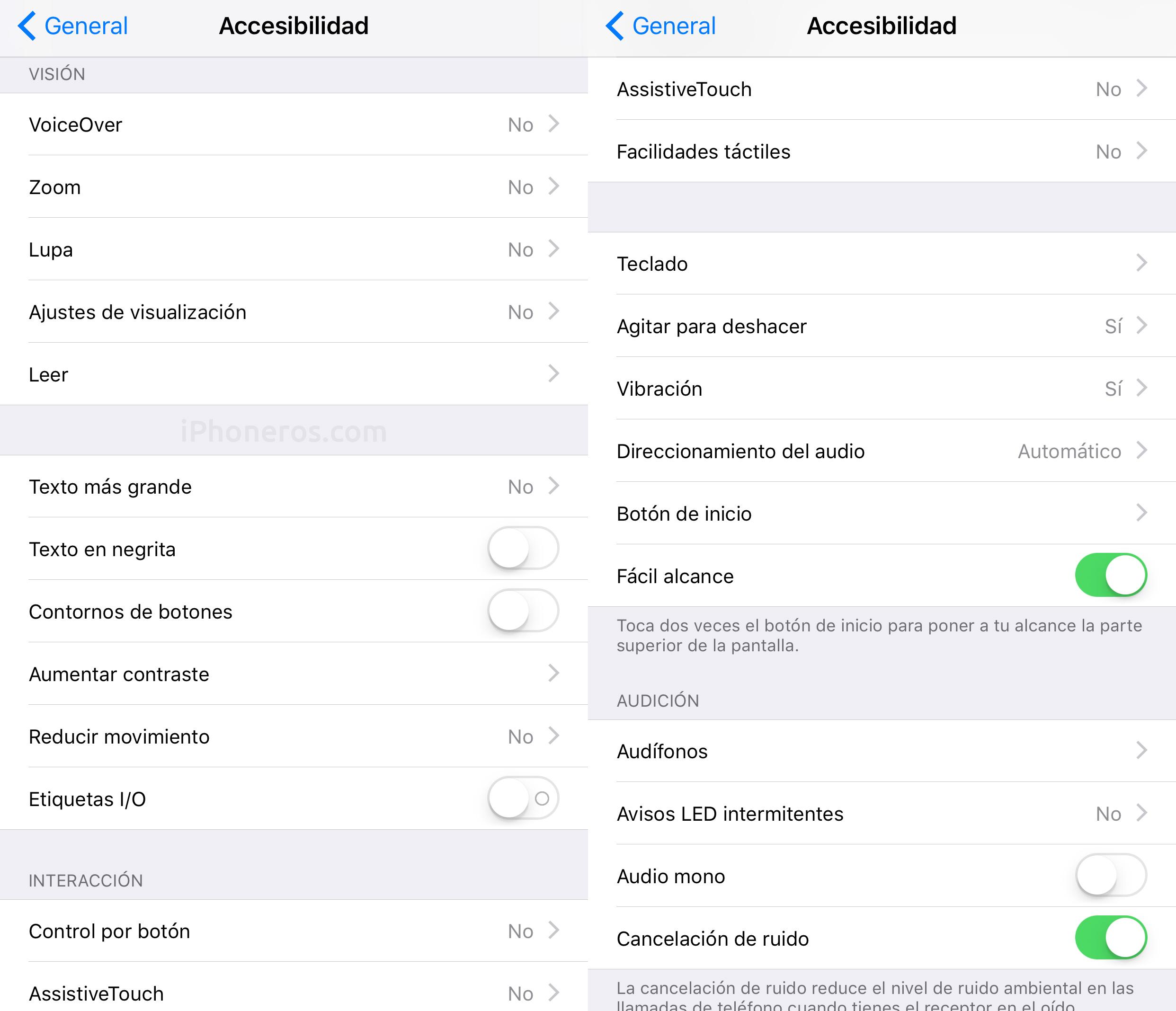 Opciones de accesibilidad en iOS