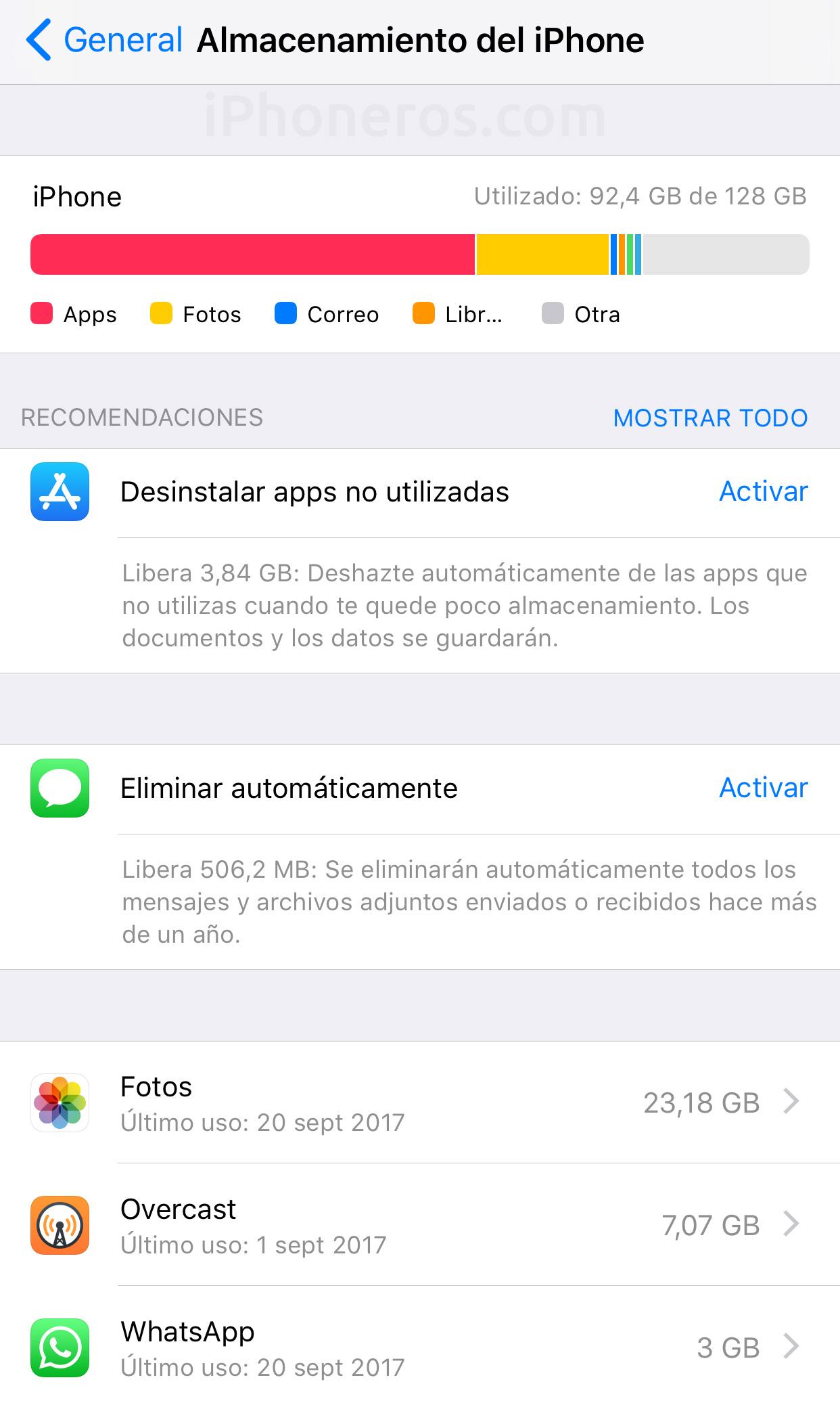 Controlando el almacenamiento en iOS™ 11