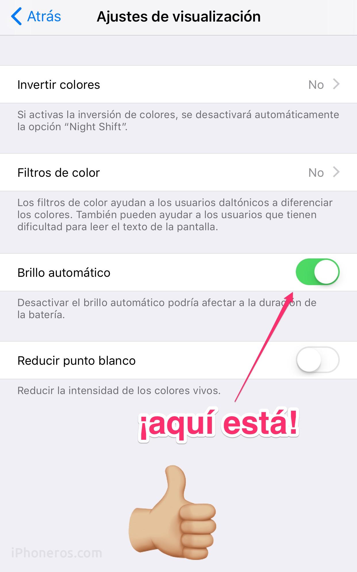 Ajuste de brillo automático en iOS™ 11