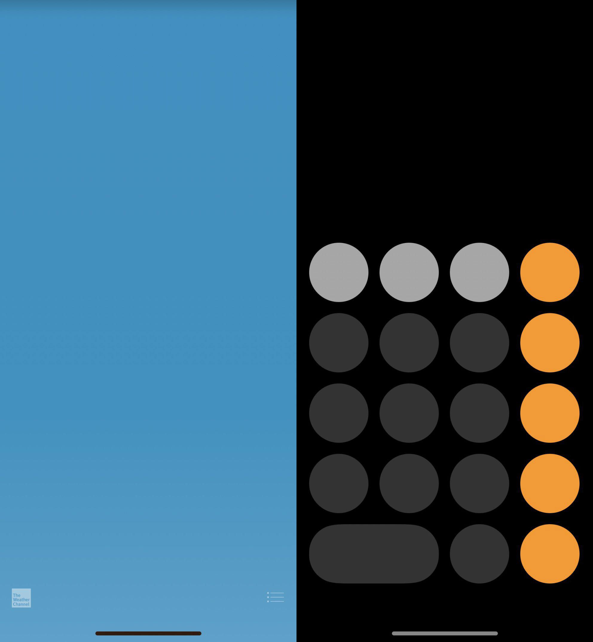 Apps de Calculadora y del Tiempo de iOS™ 11, con la barra del botón Home virtual abajo