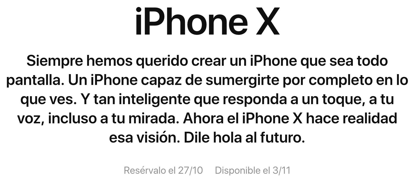 Cita de la web de Apple™ sobre el iPhone X