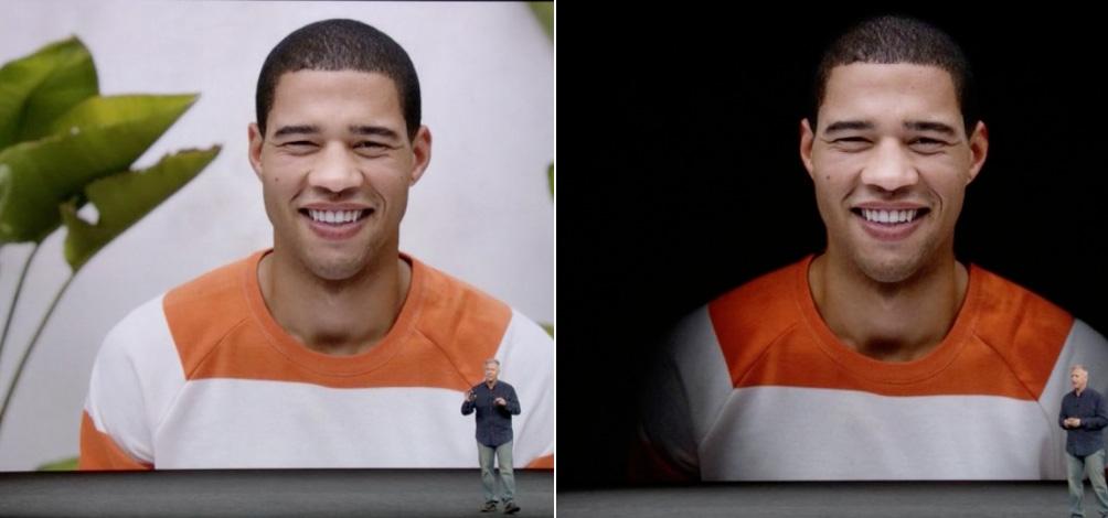 Comparativa del modo retrato con tratamiento de luz o sin él, en el iPhone 8