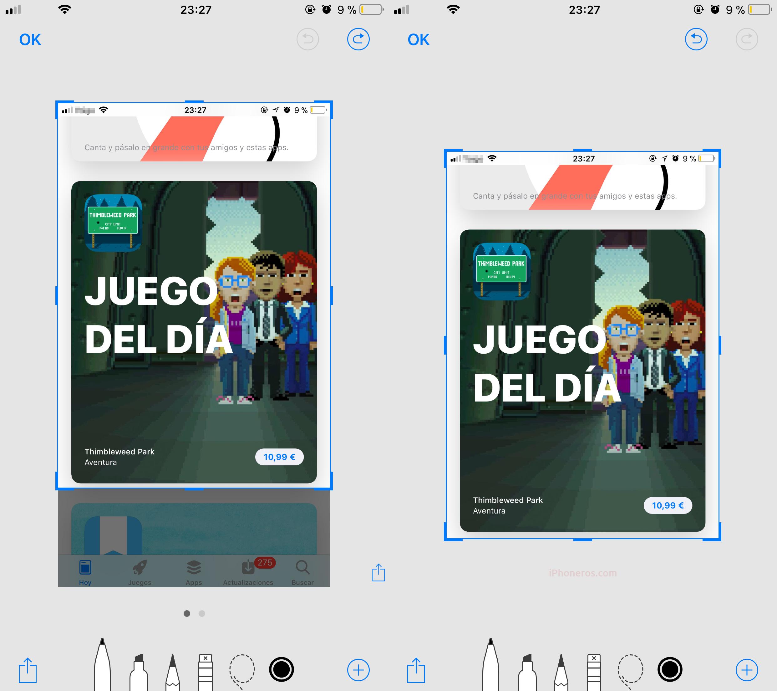 Editando una captura de pantalla en iOS 11