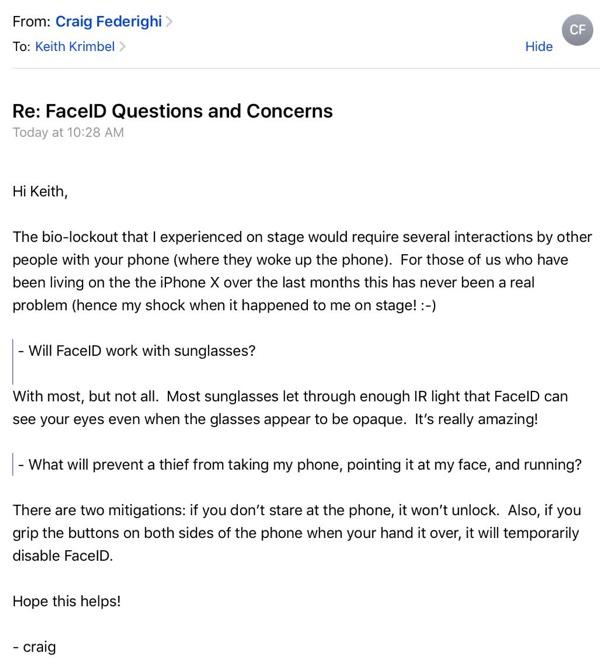 Craig Federighi responde un email sobre Face ID