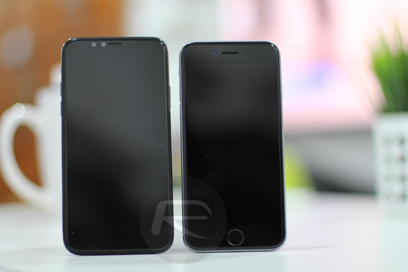 Imagen comparativa de la maqueta del iPhone ocho / Edition con todos los demás prototipos de iPhone