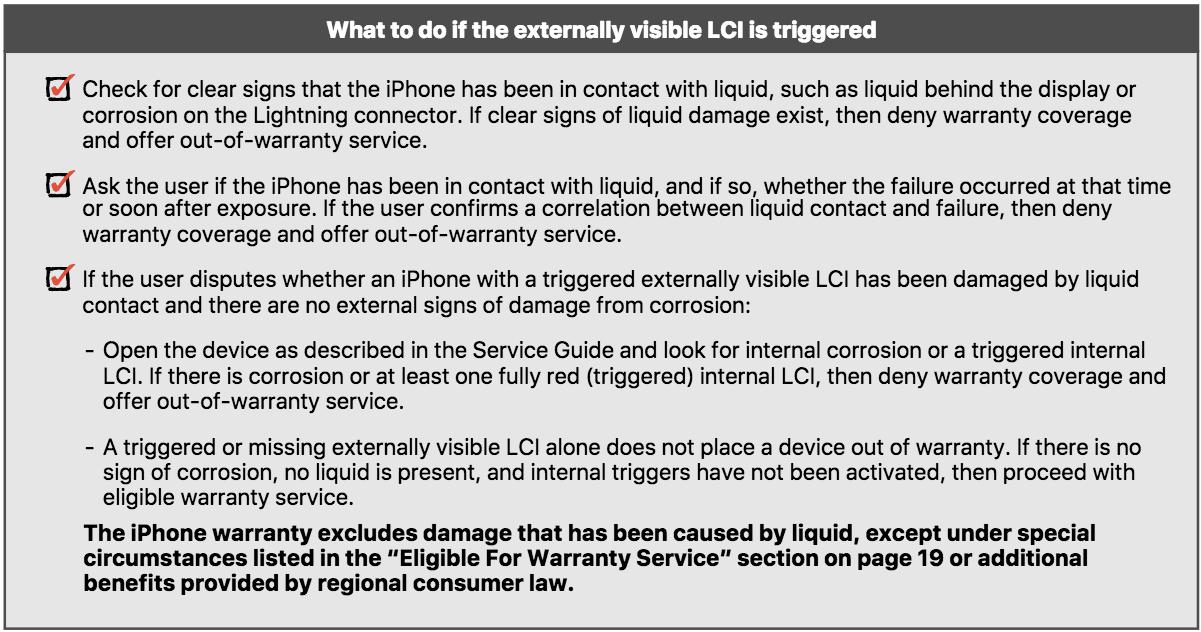 Condiciones para aceptar o no las reparaciones de un iPhone