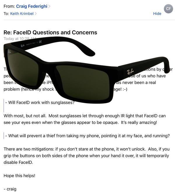 Email de Federighi con gafas de sol