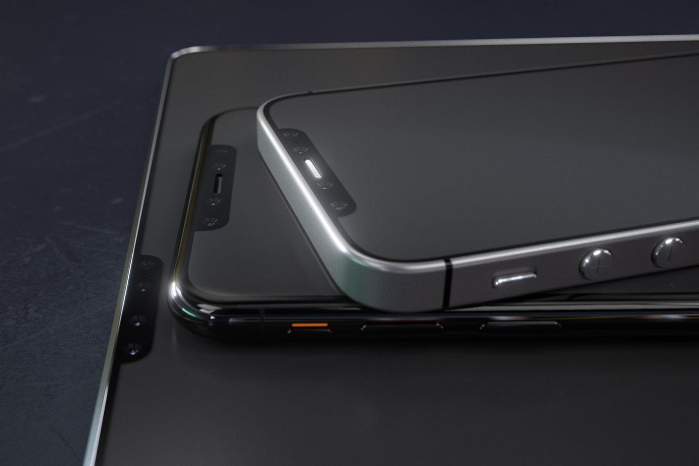 Concepto de diseño de varios modelos de iPhone o iPad con el estilo del iPhone X