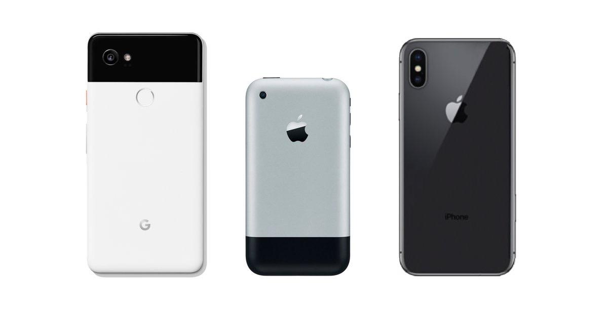 Google Pixel dos equiparado con el iPhone X y el iPhone original