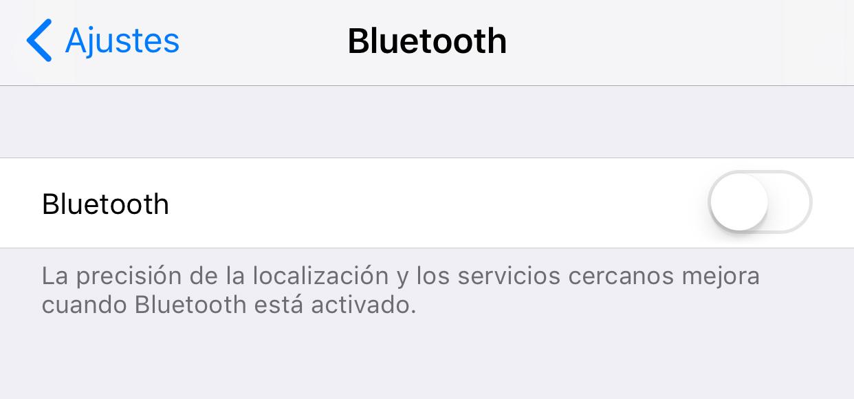 Radio Bluetooth realmente apagada en iOS™ 11