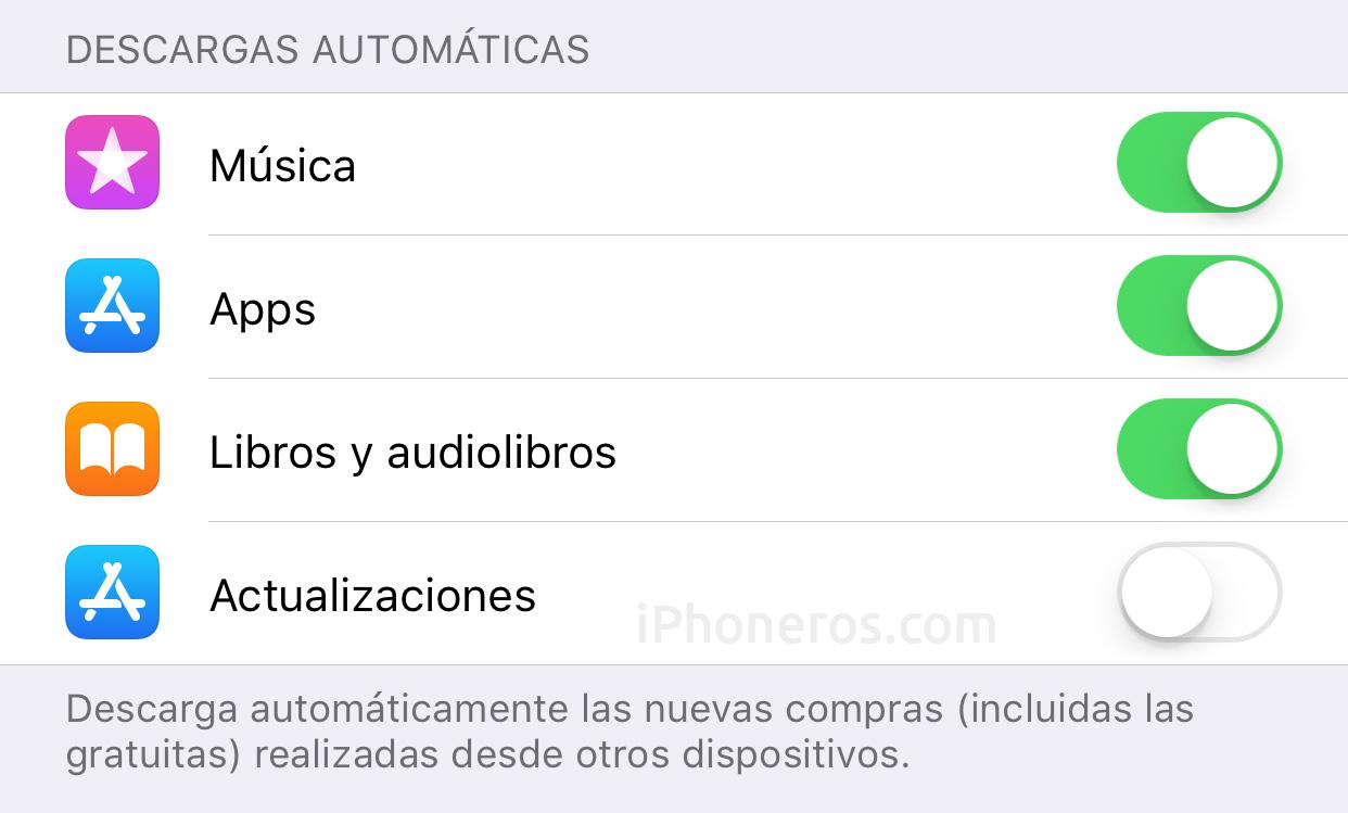 Descargas automáticas de Apps desactivadas