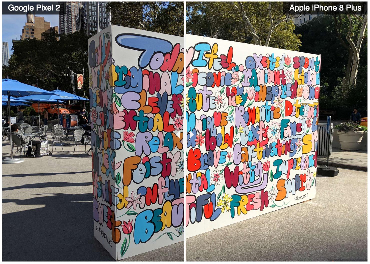 Comparación de imágenes tomadas con el iPhone 8 Plus y el Pixel 2