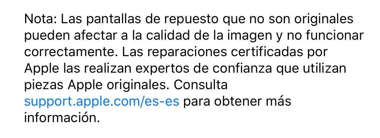 Nota de empleo sobre iOS 11.0.3 y las piezas originales