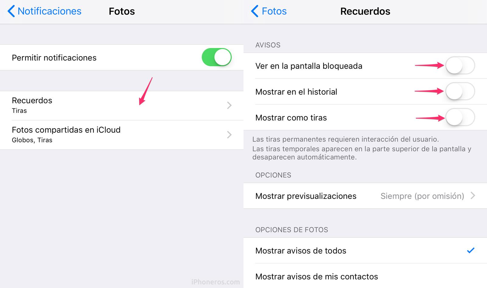 Notificaciones de recuerdos de la App de Fotos