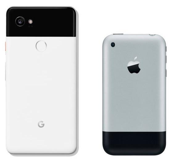 Comparación de diseño entre el iPhone original y el Pixel 2 de Google
