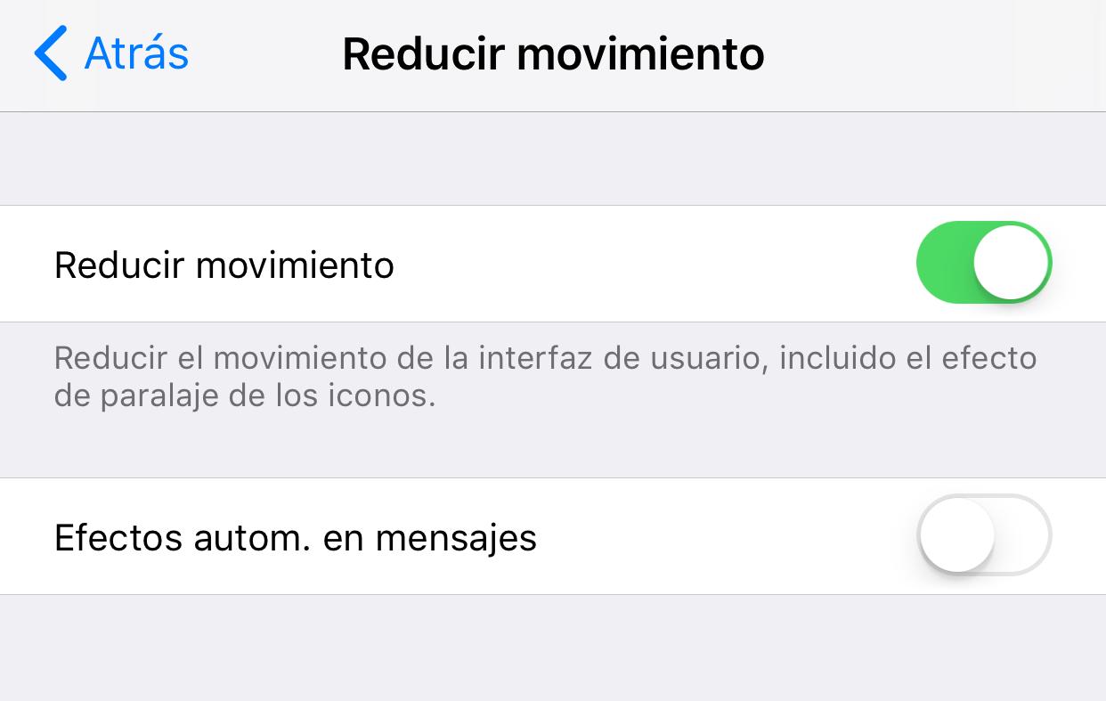 Ajustes de reducción de movimiento de iOS en la Aplicación de Ajustes