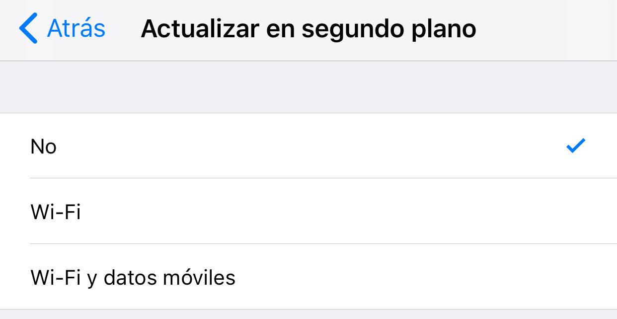 Desactivando la actualización de contenido de Apps en segundo plano