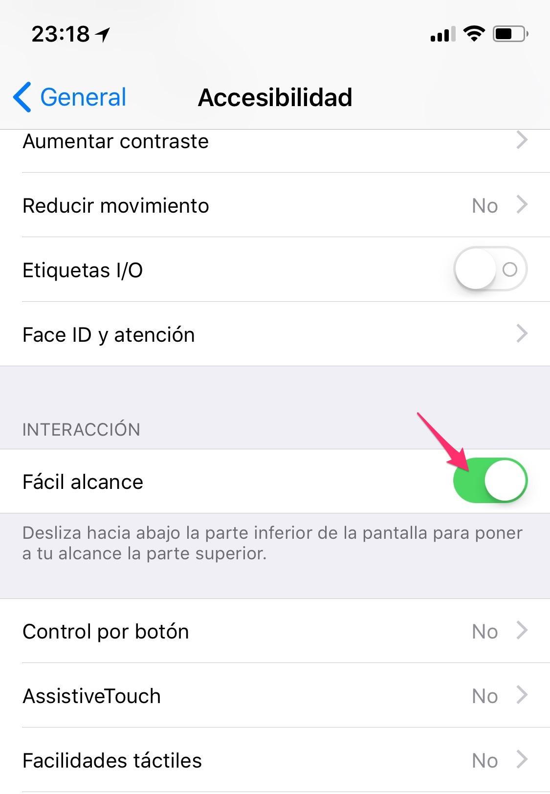Fácil alcance en la Aplicación de Ajuste