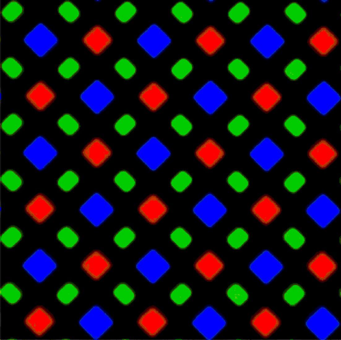Patrón de subpixeles en constituye de diamante (pantalla del iPhone X)