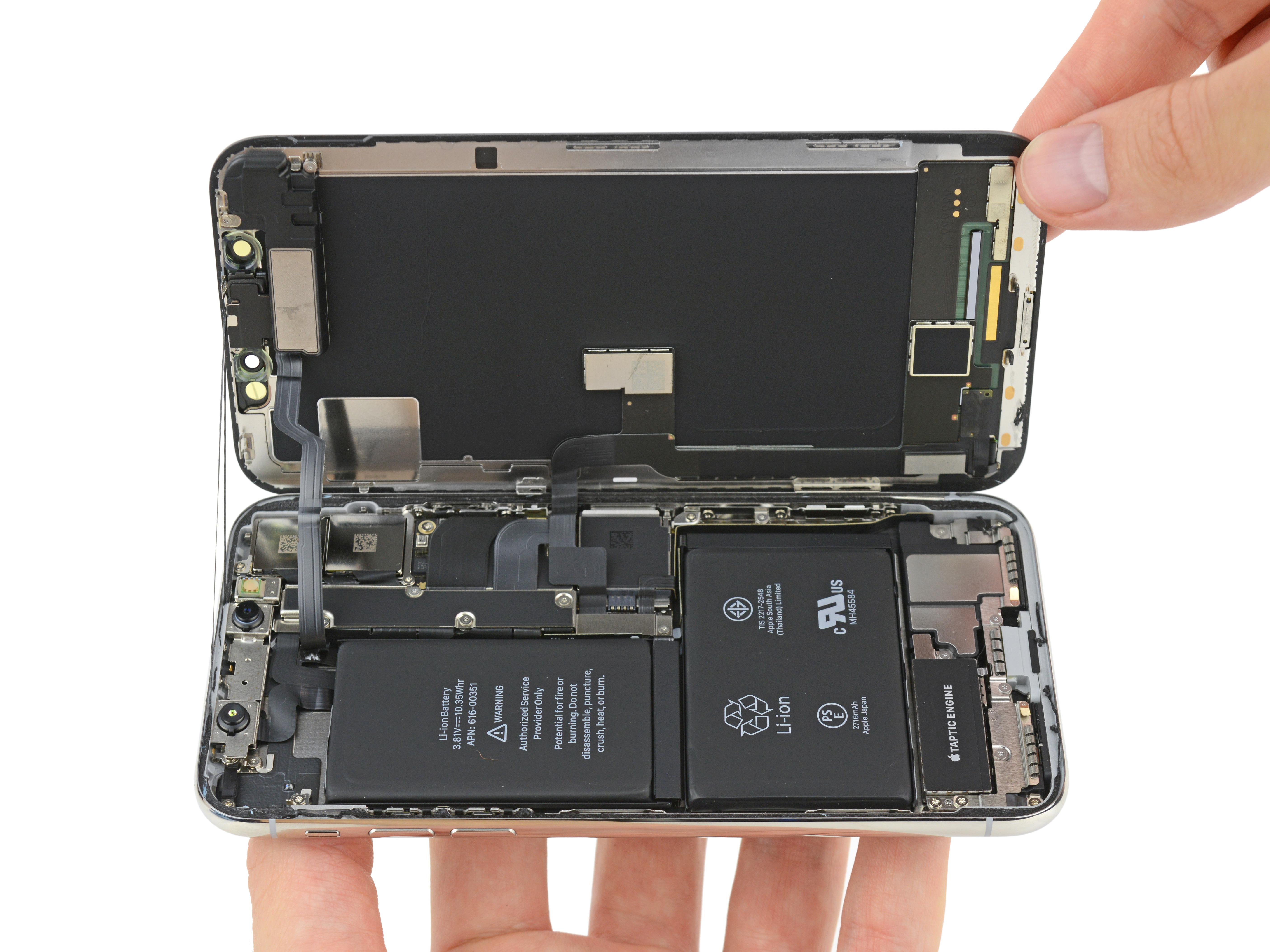 iPhone X por dentro visto de lado