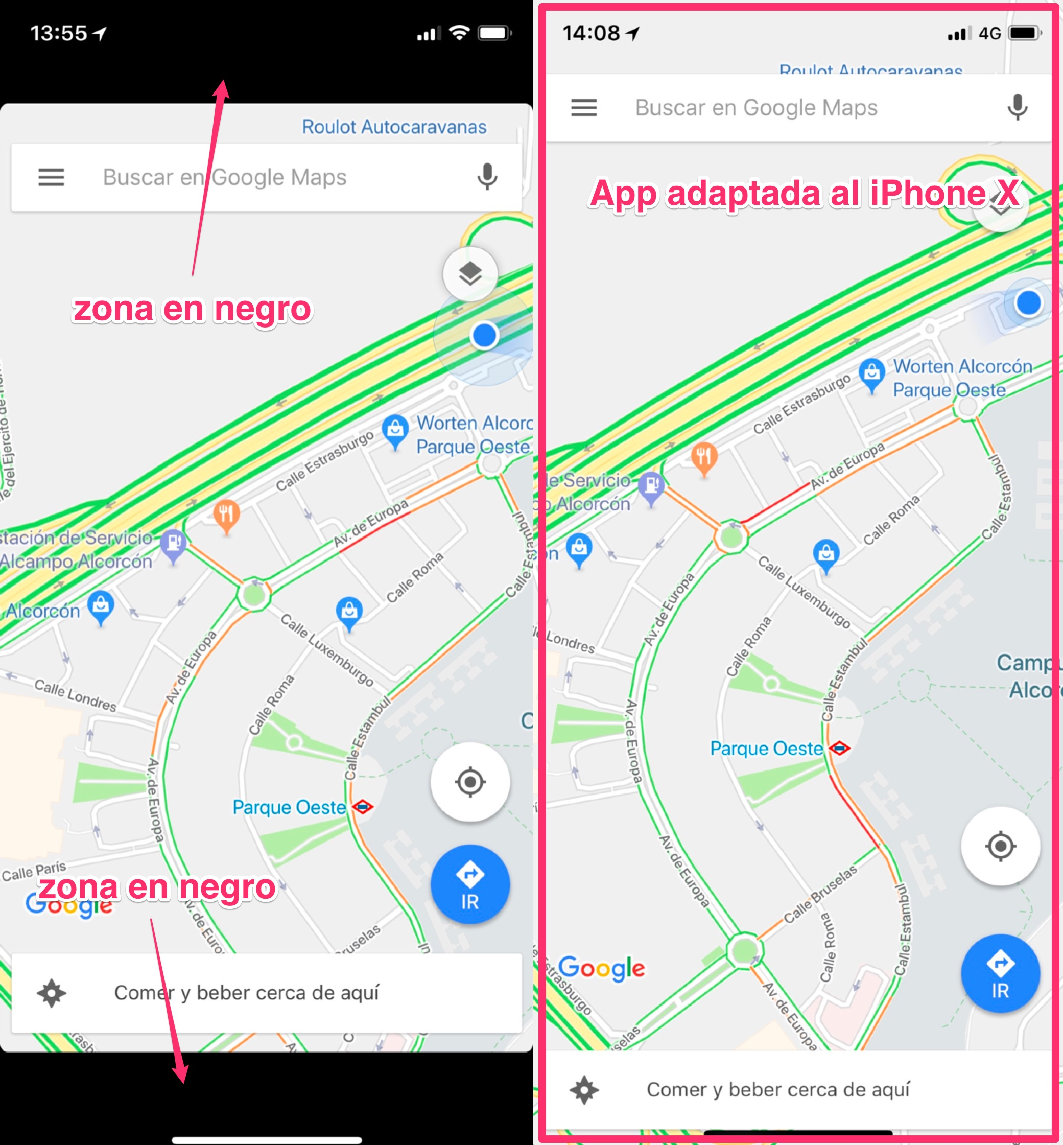 App adaptada para el iPhone X y sin adaptar