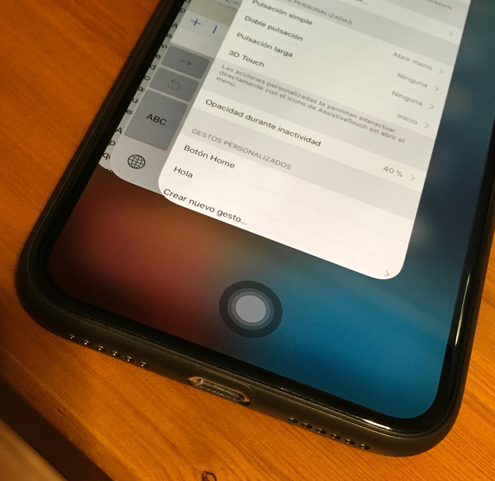 Botón Home virtual en el iPhone X