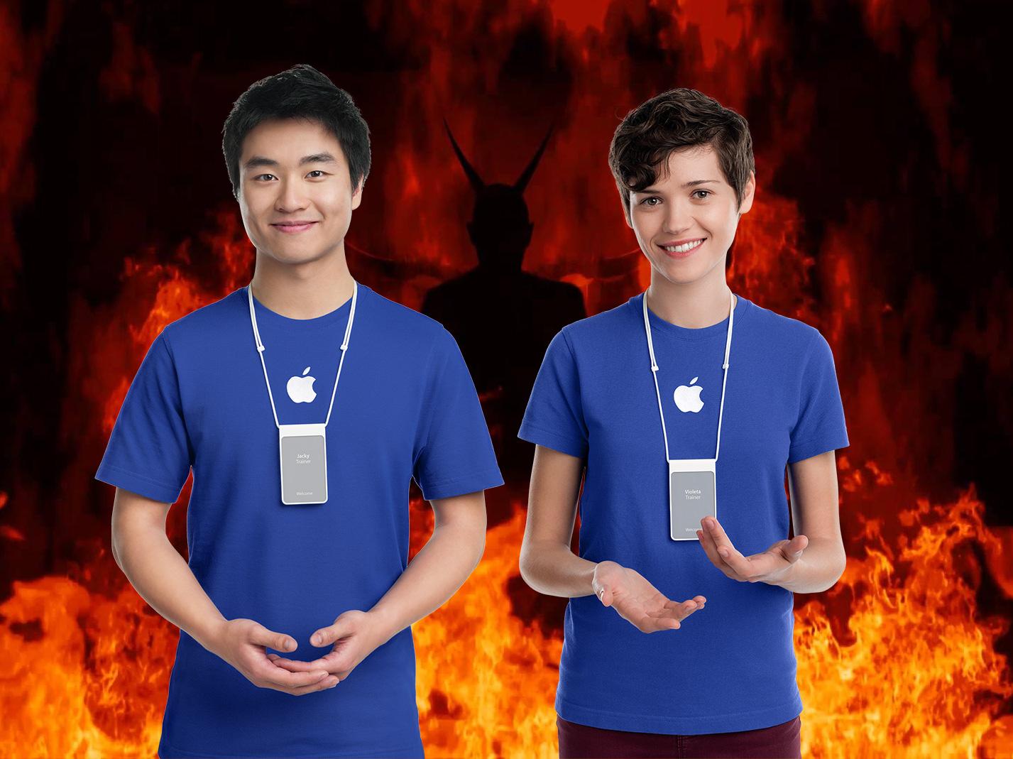 Montaje fotográfico: Empleados de Apple en el infierno