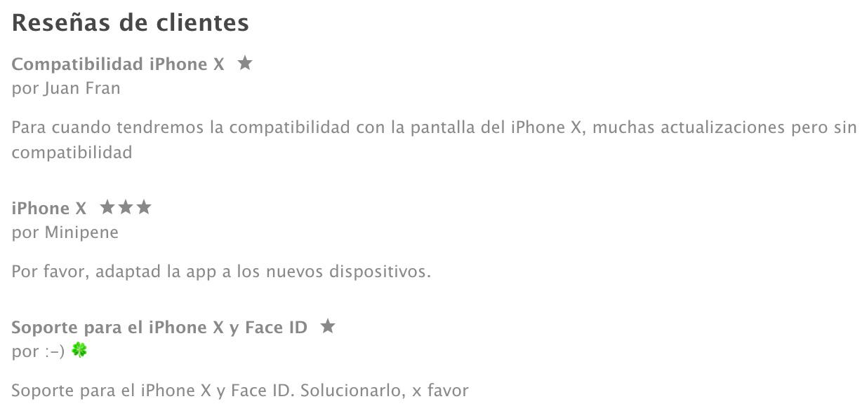 Reseñas de LINE pidiendo compatibilidad con el iPhone X
