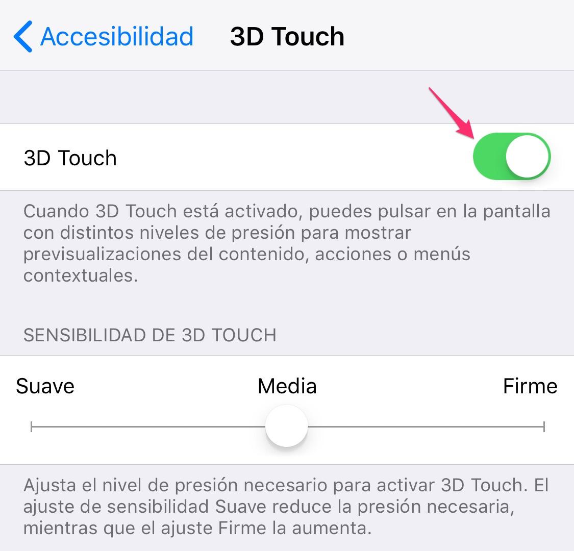 Ajustes de 3D Touch