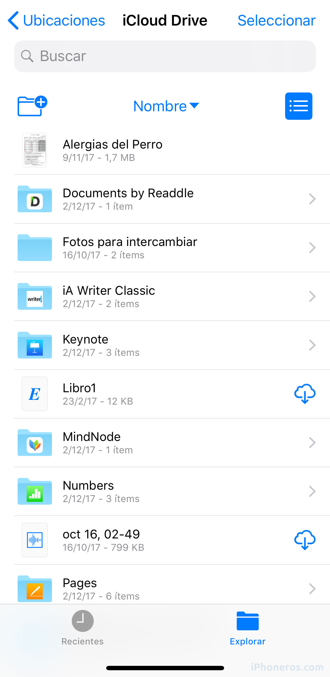 App de Archivos con carpetas de documentos de otras Apps