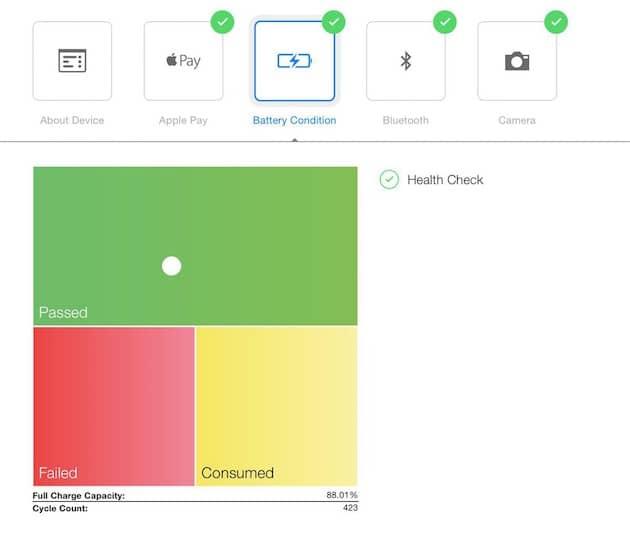 Examen de salud de batería en una Apple Store