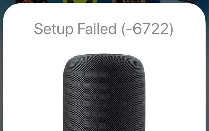 Error 6722 al configurar el HomePod