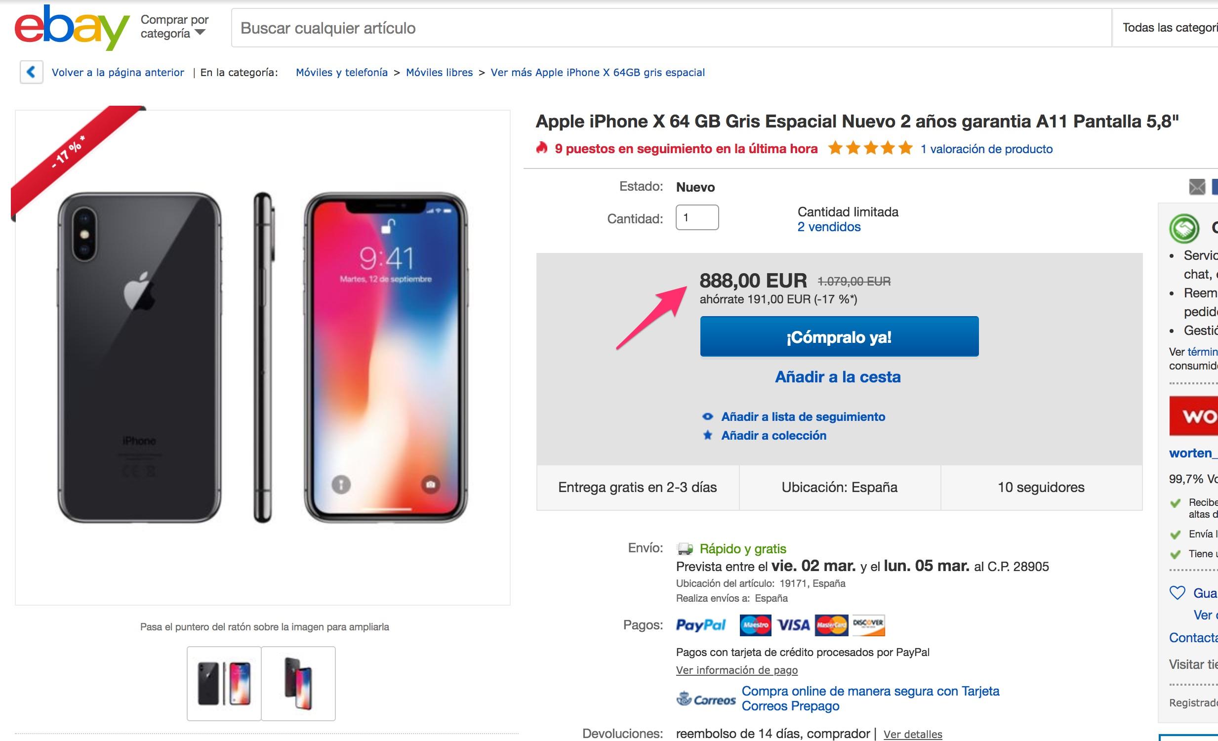 iPhone X en eBay a sólo 888€