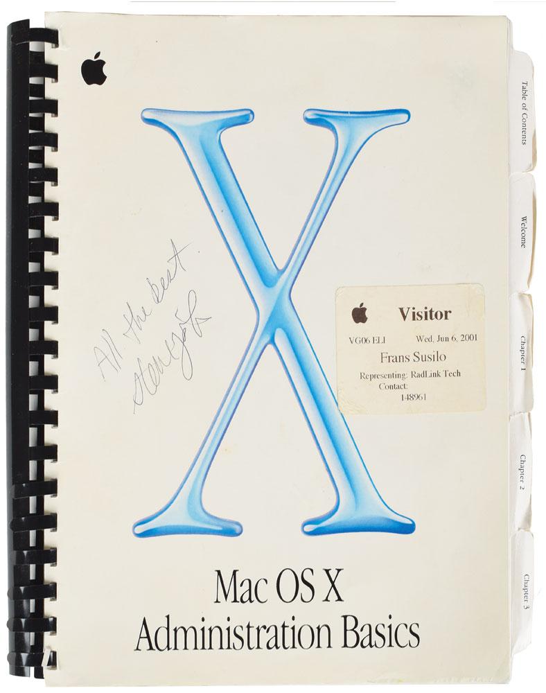 Manual firmado por Steve Jobs